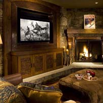 Aspen Highlands Mountain Mansion media room with 55 inch TV