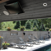 Woody Creek Estate showing creative solution for client who wanted to watch TV while basking in sun