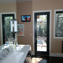 Aspen East End Duplex showing creative solution for bathroom TV