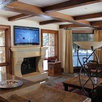 Aspen Highlands Fourteen Thousand Square Foot Home fully retrofitted rewired showing seamless addition of flat screen TV over fireplace